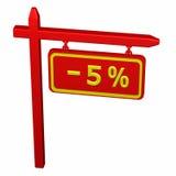 Säule mit Zeichenrabatt - 5% Lizenzfreie Stockfotografie