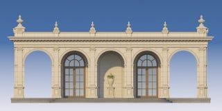 Säulengang mit Ionenpilastern in der klassischen Art 3d übertragen Stockfotos