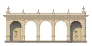 Säulengang mit Ionenpilastern in der klassischen Art 3d übertragen Lizenzfreies Stockbild