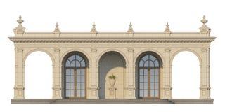 Säulengang mit Ionenpilastern in der klassischen Art 3d übertragen Stockfoto