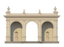 Säulengang mit Ionenpilastern in der klassischen Art 3d übertragen Stockfotografie