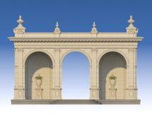 Säulengang mit Ionenpilastern in der klassischen Art 3d übertragen Stockbild