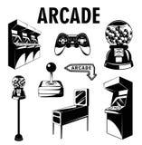 Säulengangraum Videospielsatz Spielautomat Computer-Videospiel Steuerknüppel und videopad Gumball Maschine Lokalisierte Elemente  Stockfotos