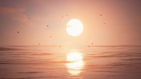 Słońce zmierzch Z ptakami ilustracja wektor