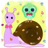 Słodki sowy i ślimaczka kreskówki wektor obraz stock