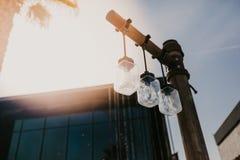 Słojów świateł Plenerowy projekt - wizerunek zdjęcia royalty free