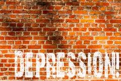 Słowa writing teksta depresja Biznesowy pojęcie dla praca stresu z bezsennymi nocami ma niepokoju nieładu ściany z cegieł sztukę  fotografia royalty free