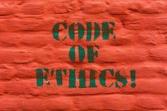 Słowa writing teksta kodeks etyczny Biznesowy pojęcie dla morału Rządzi Etycznej prawości rzetelności procedury Dobrą ścianę z ce zdjęcia royalty free