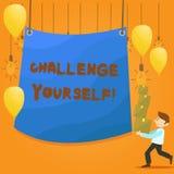 Słowa writing teksta wyzwanie Yourself Biznesowy pojęcie dla Pokonującego zaufania ośmielenia ulepszenia Silnego wyzwania ilustracji