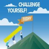 Słowa writing teksta wyzwanie Yourself Biznesowy pojęcie dla Pokonującego zaufania ośmielenia ulepszenia Silnego wyzwania ilustracja wektor