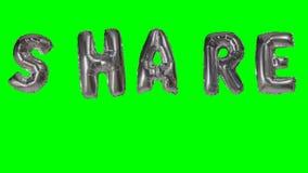 Słowo część od helu srebra balonu listów unosi się na zieleń ekranie - zbiory wideo