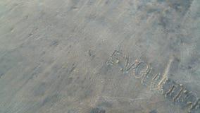 Słowo ewolucja writtern na plażowym piasku ono myje daleko ocean falami Szyldowy pojęcie Istota ludzka początek od wody zbiory wideo