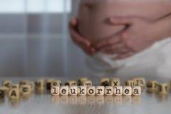 Słowo LEUKORRHEA komponujący drewniani listy zdjęcia stock
