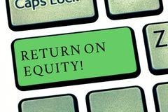 Słowo pisze teksta powrocie Na sprawiedliwości Biznesowy pojęcie dla dochodowość biznesu w związku z wartością udziałowiec fotografia stock
