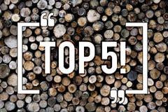 Słowo pisze teksta wierzchołku 5 Biznesowy pojęcie dla najlepszy ones zwycięzcy Najwięcej Popularnych bestsellerów tła Drewnianeg obraz royalty free