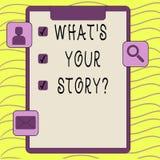 Słowo pisze tekstowi Jaki S Twój Storyquestion Biznesowy pojęcie dla Łączę Komunikuje łączliwość związek royalty ilustracja