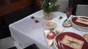 Słuzyć świąteczny boże narodzenie stół zbiory wideo