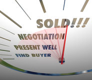 Sålda hastighetsmätareord förhandlar den närvarande fyndköparen som säljer Proc Arkivbilder