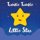 Sång för små barn för stjärna för glimtglimt söt på natten stock illustrationer