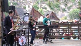Sångare i festival för sågspånkonstvinter på Laguna Beach arkivfilmer