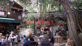 Sångare i festival för sågspånkonstvinter på Laguna Beach stock video