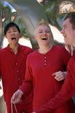 Sångare som sjunger längs gatan Arkivfoton