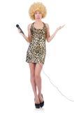 Sångarekvinna med mic Royaltyfria Bilder
