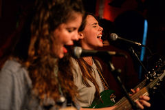 Sångaren av hindar (musikbandet också som är bekant som Deers) utför på den Heliogabal klubban Royaltyfria Bilder