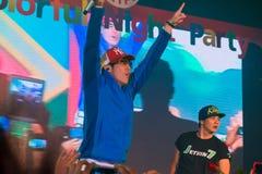 Sångaren J Jetrin på etappen 06 2014 på Pataya Thailand Royaltyfri Bild