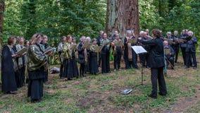 Sången av skogen - sjunga i kör i träna fotografering för bildbyråer