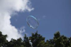 Såpbubbla med blå himmel och träd Arkivfoton