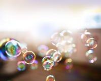 Såpbubblor abstrakt bakgrund Royaltyfria Foton