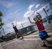 Såpbubblor på pir i Zurich Fotografering för Bildbyråer