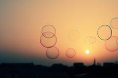 Såpbubblor som svävar i luften royaltyfria bilder