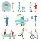 Sårade och sjuka patienter i den medicinska sjukvården för sjukhushäleri från professionelldoktorer och sjuksköterskor stock illustrationer