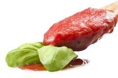 Sås av tomater och basilika arkivfoto