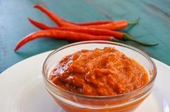 Sås för den varma chili tjänade som med nya röda chili Arkivfoton