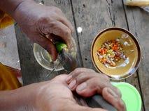 Sås för matlagning och för smaktillsats för thailändsk fet man äldre kryddig havs- Arkivfoto