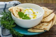 Sås med yoghurt och gurka för startknapp Royaltyfria Bilder