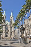 Sé Cathedral - São Paulo - Brazil. Sé Cathedral is the cathedral of the Roman Catholic Archdiocese of São Paulo, Brazil. In front, the statue of Anchieta Stock Image