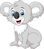 Séance adorable de koala de bande dessinée d'isolement sur le fond blanc illustration libre de droits