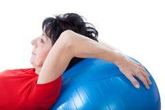 Séance d'entraînement avec une boule Images libres de droits