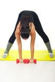 Séance d'entraînement de femme avec le barbell Photos stock