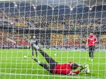 Séance d'entraînement de footballer, équipe nationale de la Roumanie Images stock