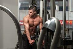 Séance d'entraînement de triceps avec des câbles Photos libres de droits