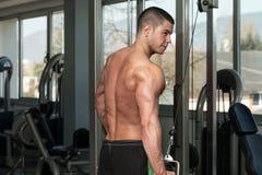 Séance d'entraînement de triceps avec des câbles Photographie stock