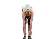 Séance d'entraînement namaskar de pose de surya de yoga de salutation du soleil de femme photographie stock libre de droits
