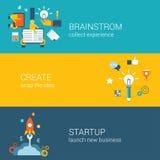 Séance de réflexion plate de style, création d'idée, concept infographic de démarrage