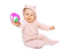 Séance et jouer drôles de bébé Images libres de droits