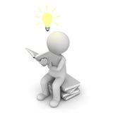 séance et relevé de l'homme 3d un livre avec l'ampoule d'idée illustration de vecteur